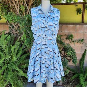 NWT Cals Retro Pinup Sailboat Dress Large